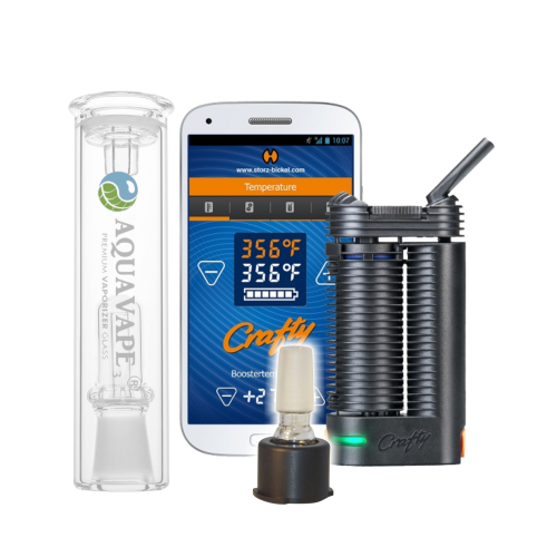 Crafty+ Vaporizer Komplett Set + Aquavape³ Bubbler & 14mm-Adapter