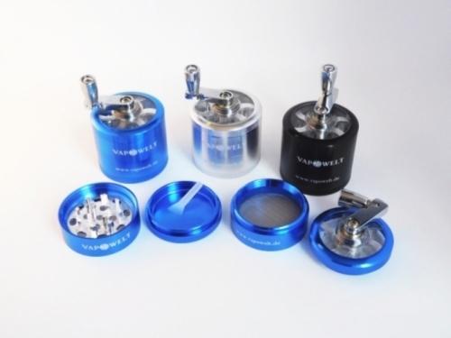 Alu-Kurbelgrinder Deluxe mit Sichtfenster (50 mm) *Blau*