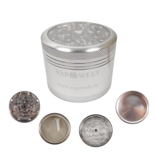 Alu-Grinder mit Sichtfenster (48 mm) *Silber*